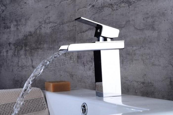 全铜冷热单孔混水面盆龙头 浴室洗手盆瀑布水龙头